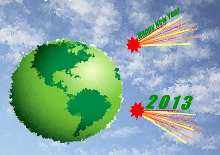 0 1 years: Green planet Earth with comets  and inscription 2013 Stock Photo