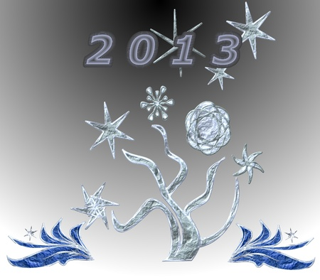 Abstract background with a tree, snowflakes and inscription 2013 Stock Photo - 15647364