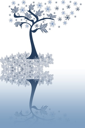 Abstraction  tree with leaves, snowflakes on a white-blue background Stock Photo - 15754265
