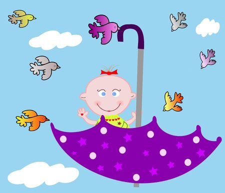 Little merry child in an umbrella on sky with birdies Stock Photo - 16268607