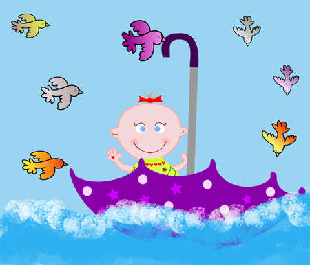 Little merry child in an umbrella on water with birdies Stock Photo - 16268608