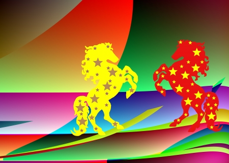 Two horse on the abstract coloured background Stock Photo - 16268609