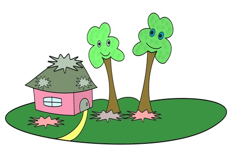 Little house on a green lawn and trees Stock Photo - 16268613