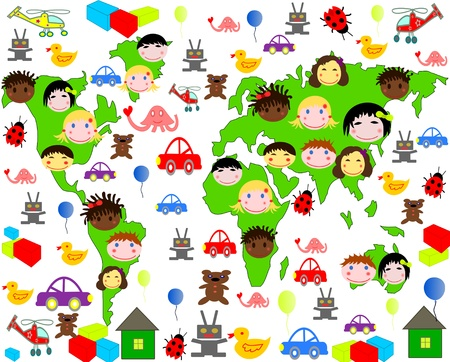 Persons of children of different races on the map of the world with toys Stock Photo - 16826977
