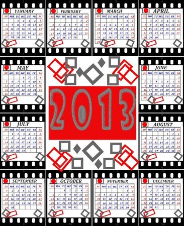 A calendar on 2013 is English executed as shots on a film Stock Photo - 16826978