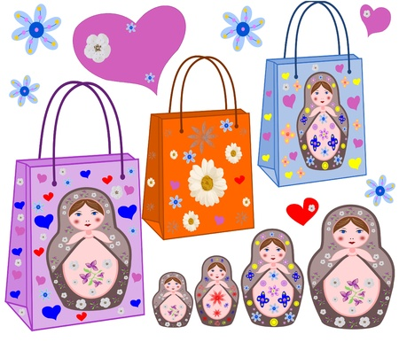 Shopping bags with the Russian nest-dolls, by colors and hearts