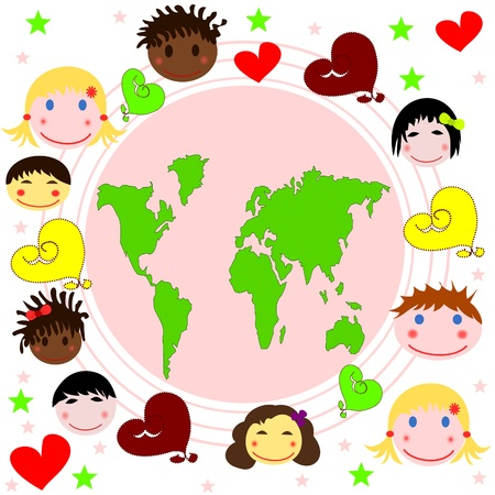 Map of the world , faces of children of different races and hearts Stock Photo - 17567755