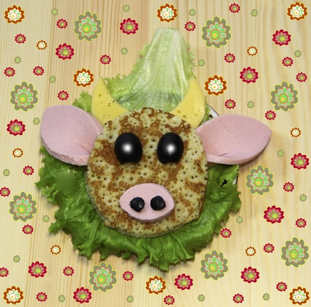 Buterbrod - muzzle cow, food for children Stock Photo