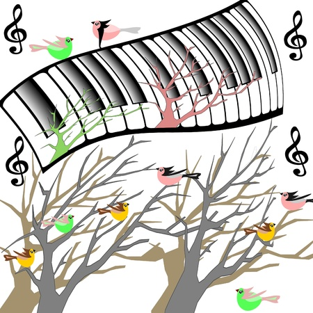 Trees with birds and original keyboard piano photo