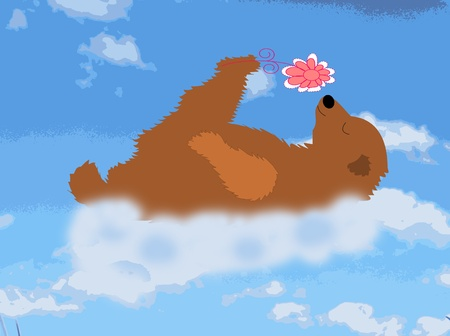 Happy bear is a cloud with a flower