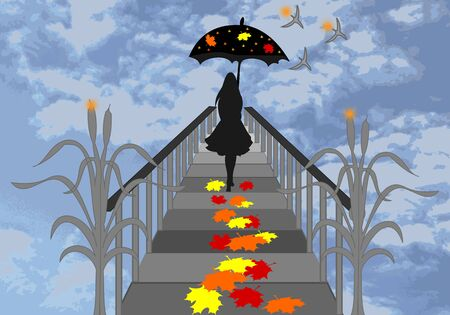 there: Girl with umbrella walking on the pier and falling maple leaves
