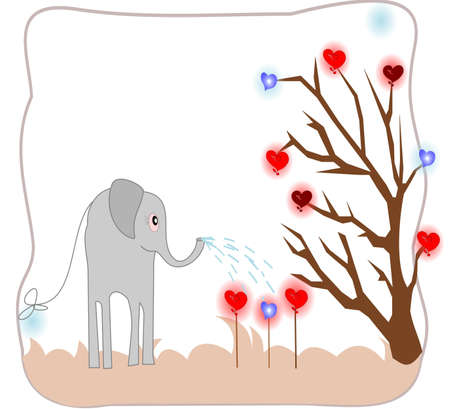 Cute elephant watering seedlings with hearts of love card photo