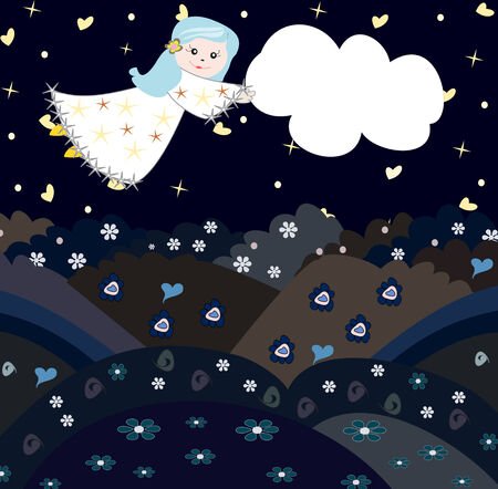 Sweet girl flying through the sky with a cloud