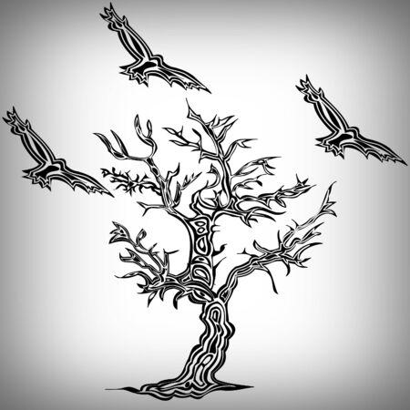 Tree and bird tattoo style Stock Photo