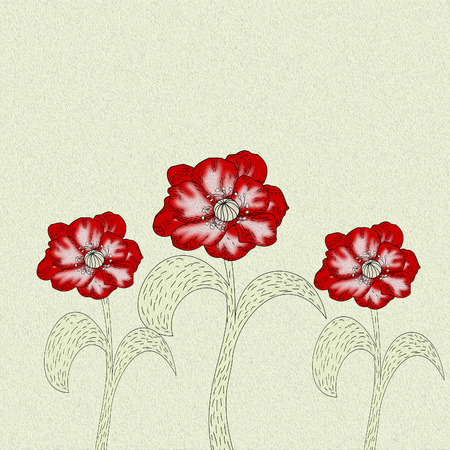 Three poppy flower with the effect of oil paints, floral background
