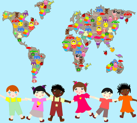 Children of different races with toys, planet-planet toys for children