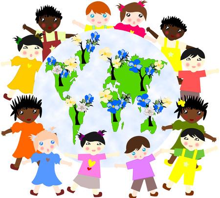 ni�os de diferentes razas: Los ni�os de diferentes razas en todo el mapa de nuestro planeta verde con �rboles en flor
