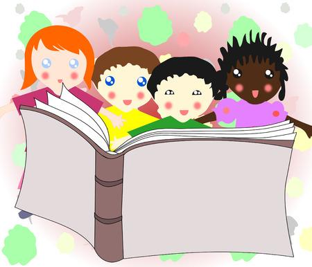 ni�os de diferentes razas: Los ni�os de diferentes razas de lectura un libro juntos