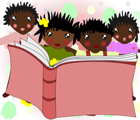 African children are reading a book together  photo