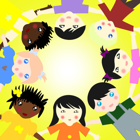 ni�os de diferentes razas: Los ni�os de diferentes razas juntos en un c�rculo sobre fondo soleado
