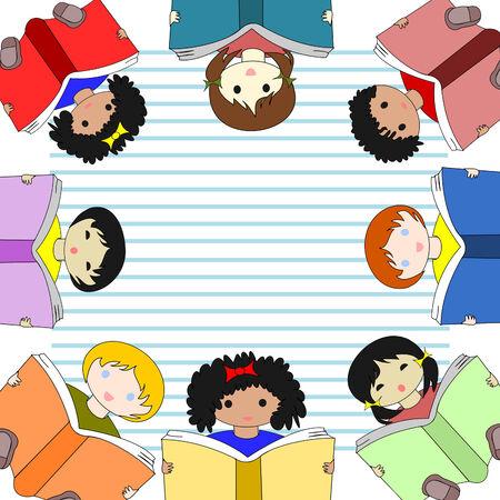 ni�os de diferentes razas: Los ni�os de diferentes razas lectura de libros y sentarse en un c�rculo en la hoja de cuaderno en el fondo Foto de archivo