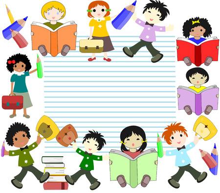 ni�os de diferentes razas: Los ni�os de diferentes razas leer libros e ir a la escuela con un malet�n en la hoja de cuaderno en el fondo Foto de archivo