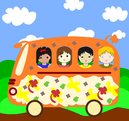 Happy children of different races going on the school bus  Stock Photo