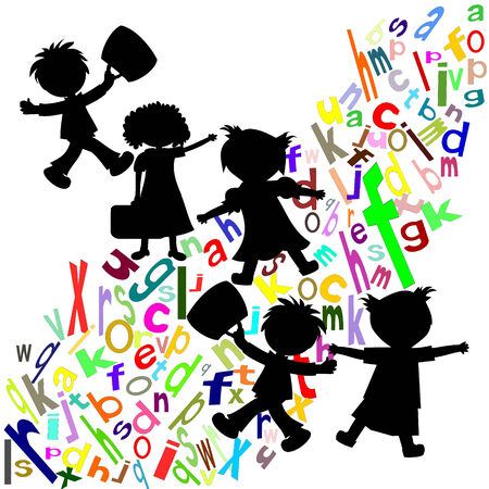 Silhouettes of children and students with portfolios colored English letters on a white background  photo