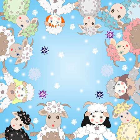 Lovely sheep and girls dressed as sheep in a circle on a background of blue sky and snowflakes photo