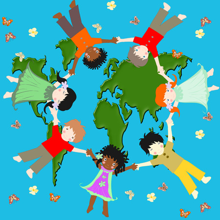 Children of different races, flying in a circle over a green planet