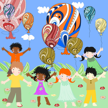 Children of different races are interesting and hold huge balloons  Banco de Imagens