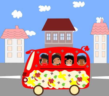 Happy African children go to school bus