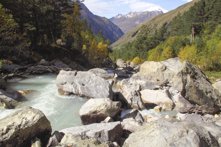 Mountain river flowing in the valley in autumn sunny day
