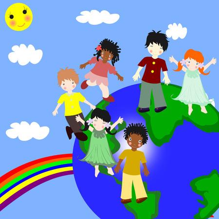 ni�os de diferentes razas: Los ni�os de diferentes razas en un planeta verde