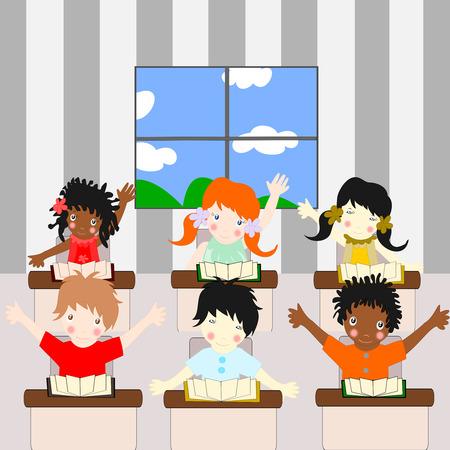 ni�os de diferentes razas: Los ni�os de diferentes razas aprenden en la sala de la escuela