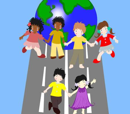 ni�os de diferentes razas: Los ni�os de diferentes razas est�n en el camino juntos