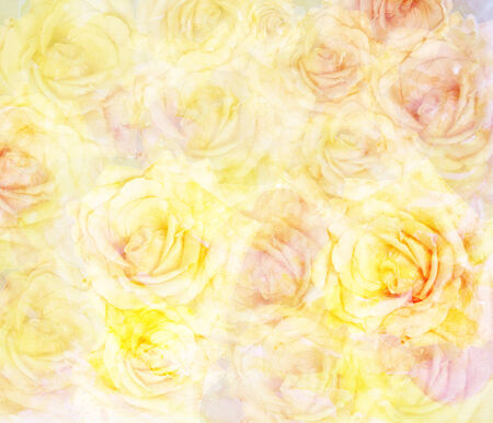 Scenic abstract floral background with roses made with color filters, watercolor composition Stock Photo