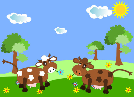 cows grazing: Cows grazing on a green meadow