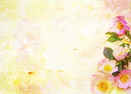campo de flores: fondo floral abstracto esc�nico con rosas silvestres hechas con filtros de color, composici�n de la acuarela Foto de archivo