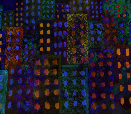 picturesque: Picturesque abstract night city made with color filters, watercolor composition