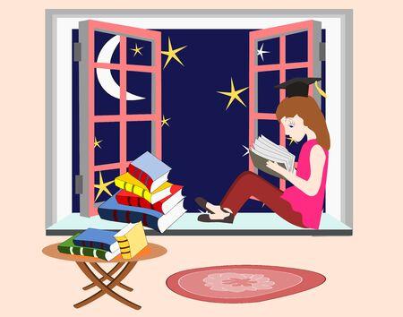 windowsill: Girl student studying at night sitting on the windowsill