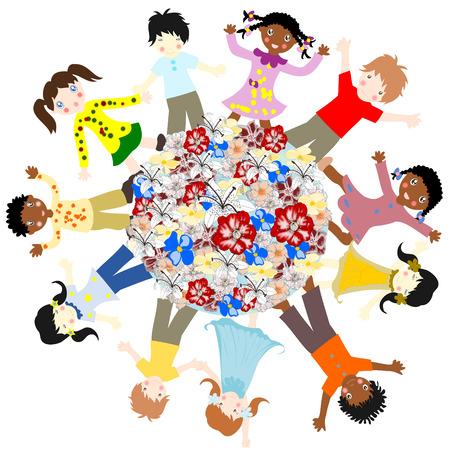 ni�os de diferentes razas: Felices los ni�os de diferentes razas alrededor de las flores del mundo sobre un fondo blanco