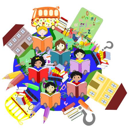 ni�os de diferentes razas: Felices los ni�os de diferentes razas de lectura de libros, nuestro planeta para la educaci�n de los ni�os