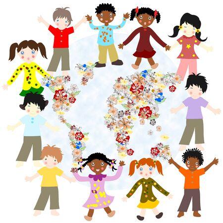 ni�os de diferentes razas: Felices los ni�os de diferentes razas de todo el mundo que florece tarjeta sobre un fondo blanco