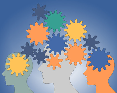 rotate: Gears rotate inside the brain power of teamwork Stock Photo