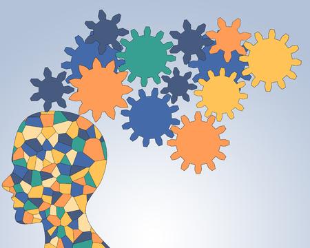 revolve: Gears rotate inside the brain power of teamwork Stock Photo
