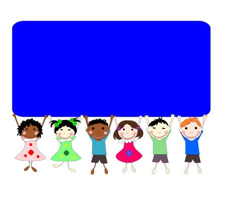 ni�os de diferentes razas: Ilustraci�n de los ni�os de diferentes razas detr�s de una pancarta sobre un fondo blanco