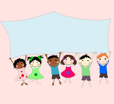 ni�os de diferentes razas: Ilustraciones de ni�os de diferentes razas detr�s de una pancarta sobre un fondo de color rosa