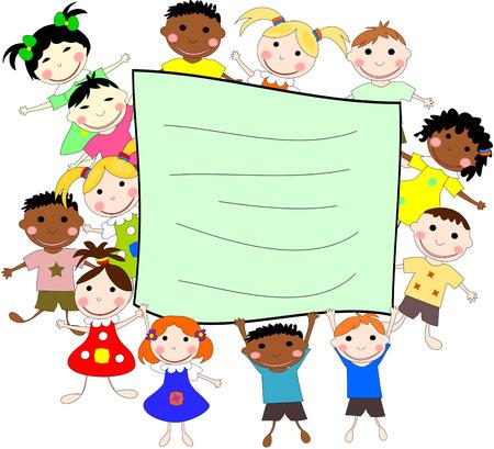 niños de diferentes razas: Ilustración de los niños de diferentes razas detrás de una pancarta sobre un fondo blanco