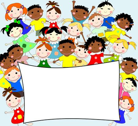 ni�os de diferentes razas: Ilustraci�n de los ni�os de diferentes razas detr�s de una pancarta sobre un fondo azul